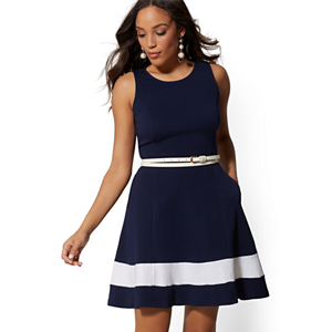 Colorblock Fit & Flare Dress