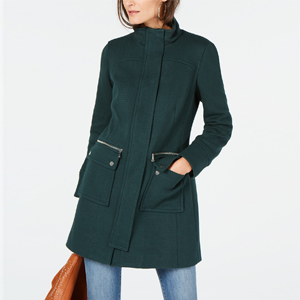 Stand-Collar Knit Coat